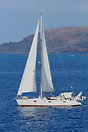 A Beneteau Oceanis 430 sails out of the remote island of Porto Santo s...