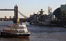 Dutch Master berthed at Tower Hill Pier on the River Thames. HMS Belfa...