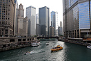 The river tour boat 'Seadog' makes its way down the Chicago river, whi...