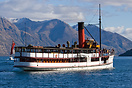 TSS Earnslaw sailing back to berth after another tourist cruise on Lak...