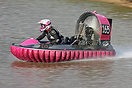 Jessica Lucas at speed on the water in a Formula 3 racing hovercraft d...
