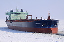 Crude oil tanker Mastera breaking ice by stern on her way to Primorsk,...