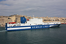 The Grimaldi Lines ro-ro vessel Eurocargo Malta departing from Malta's...