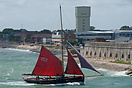 The gaff rigged former pilot cutter, Jolie Brise, approaches Portsmout...