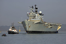 HMS Illustrious departing Portsmouth for the final time, bound for a T...